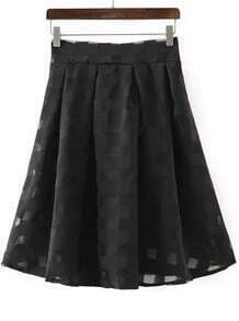 Black Plaid Organza Skirt