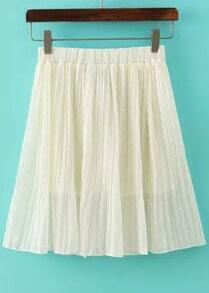 Beige Elastic Waist Pleated Chiffon Skirt