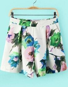 Multicolor Floral Straight Shorts
