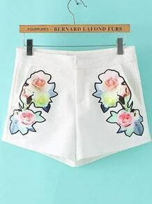 White Embroidered Straight Shorts