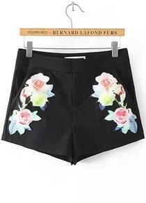 Black Embroidered Straight Shorts
