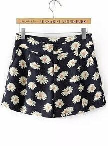 Black Sunflower Print Straight Shorts