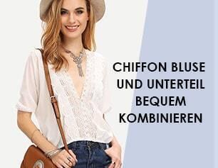 Chiffon Bluse und Unterteil bequem kombinieren