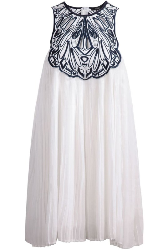 81c5382e92ca9 White Sleeveless Embroidered Loose Chiffon Dress