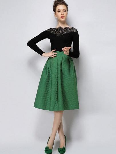 Green High Waist Plaid Skirt -SheIn(Sheinside)