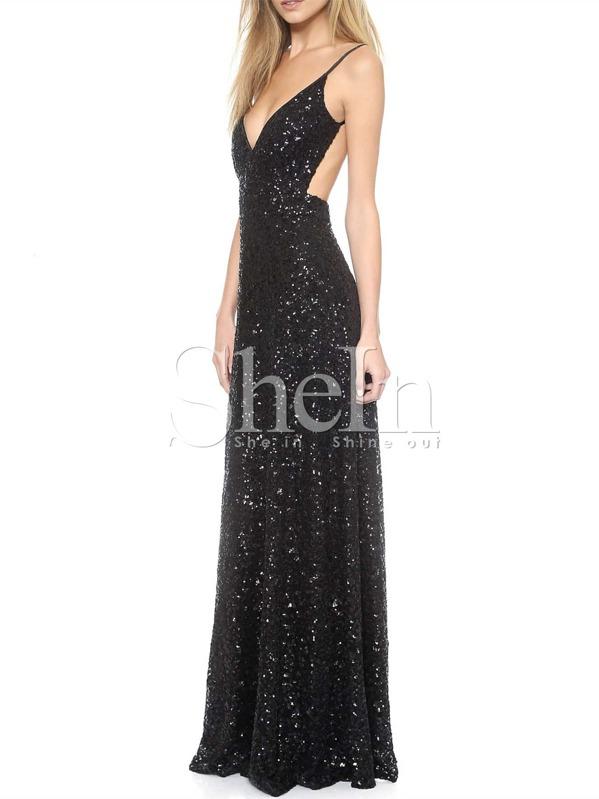Black Spaghetti Strap Sequined Backless Maxi Dress Sheinsheinside