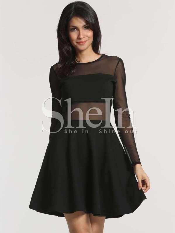2ed8dc89f8403 فستان أسود كم طويل التباين شبكة