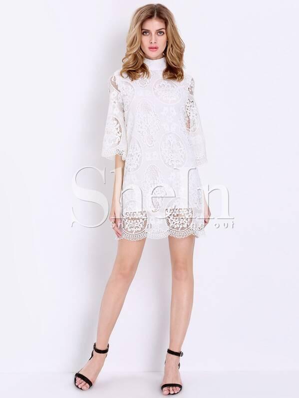 2a99920e756f5 robe dentelle floral manche mi-longue -blanc -French SheIn(Sheinside)