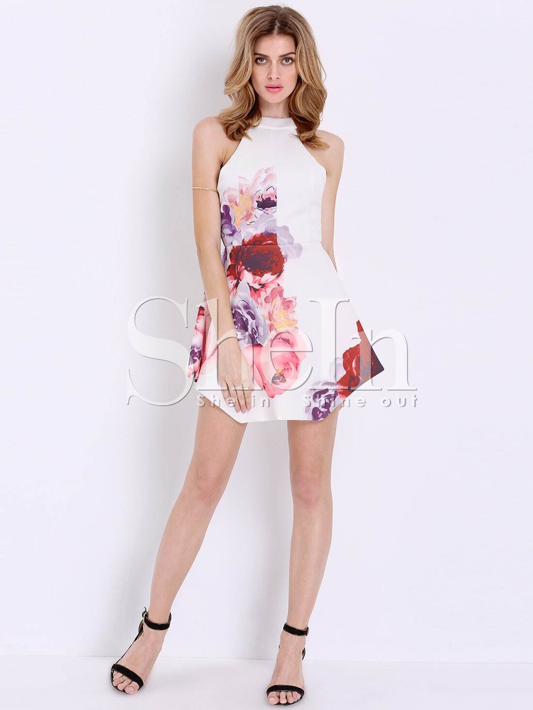 White Sleeveless Floral Painted Patterns Print Dress -SheIn(Sheinside)