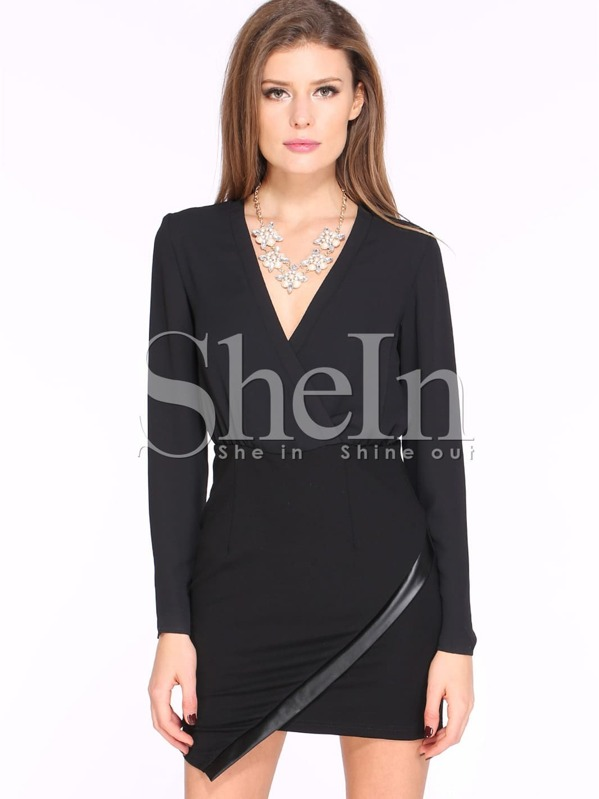10671b320 Black Long Sleeve V Neck Split Dress | SHEIN