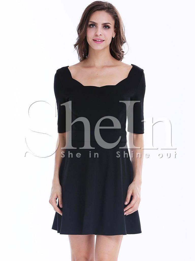plissiertes rückenfreies kleid, schwarz