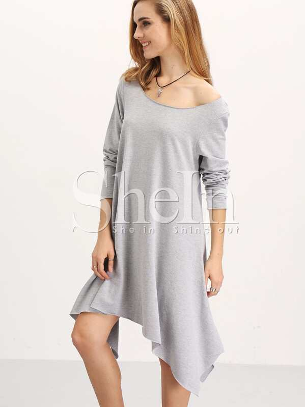 3a5214d9297 Grey Long Sleeve Asymmetric Unusual Loose Dress
