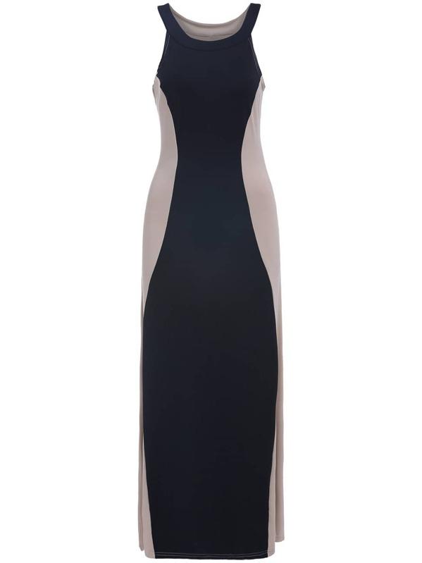 Black Apricot Sleeveless Slim Maxi Dress Sheinsheinside