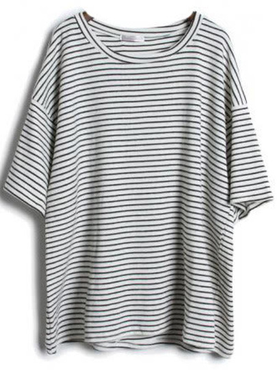 7cf8537cc8 Grey Short Sleeve Striped Loose T-Shirt | SHEIN