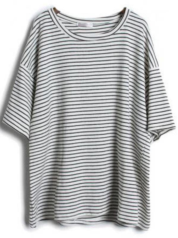 251473ef94 Grey Short Sleeve Striped Loose T-Shirt | SHEIN