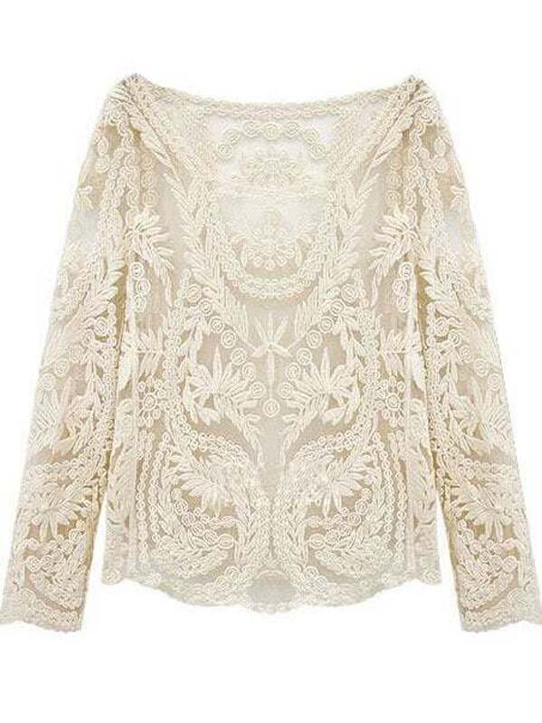c7d53e248 Hollow Crochet Lace Blouse | SHEIN UK
