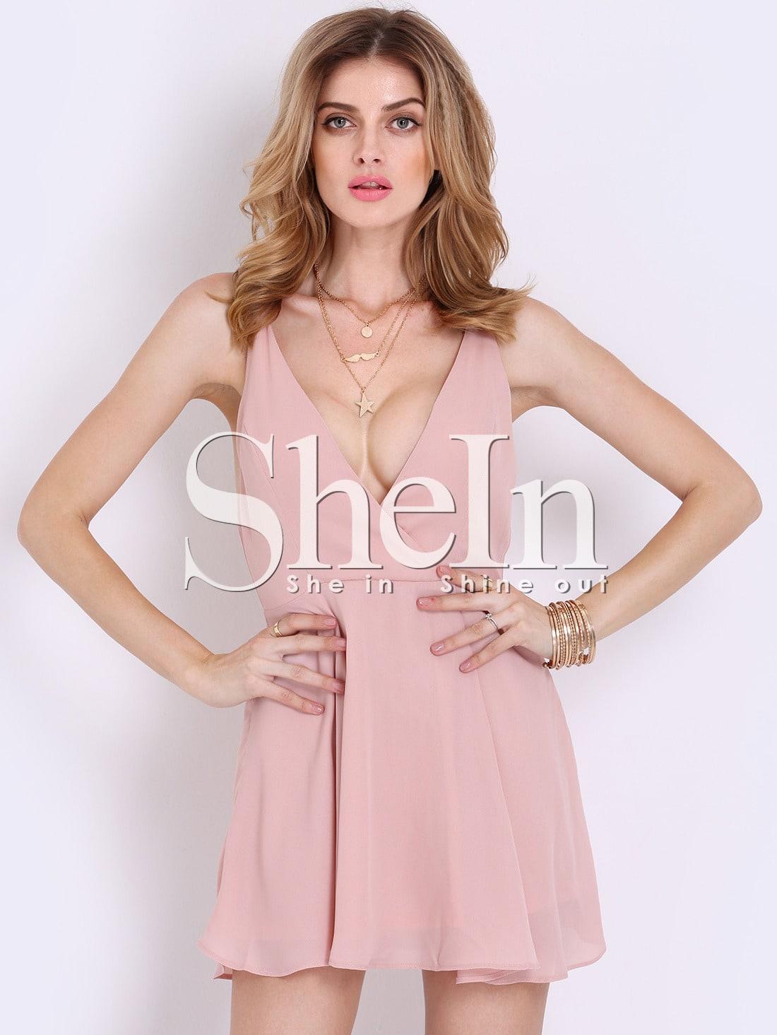 Pink Spaghetti Strap Cross Back Dress -SheIn(Sheinside)