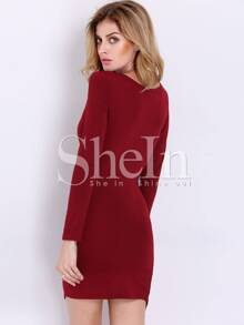 8d554d591071d Wine Red Long Sleeve V Neck Elegantly Bodycon Dress | SHEIN UK