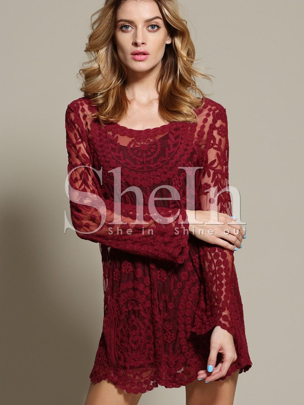 Wine Red Long Sleeve Embroidery Crochet Sheer Shift Dress -SheIn ...