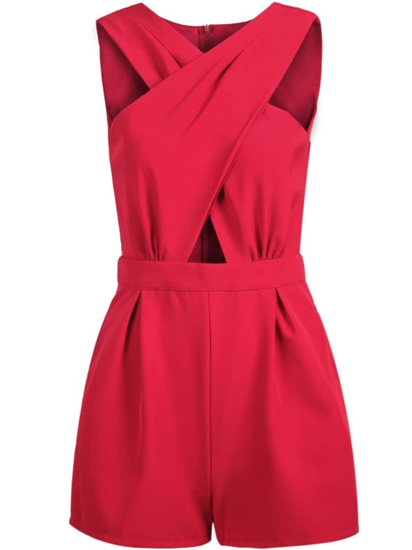 516a4f5e0ed Red Sleeveless Cross Hollow Jumpsuit