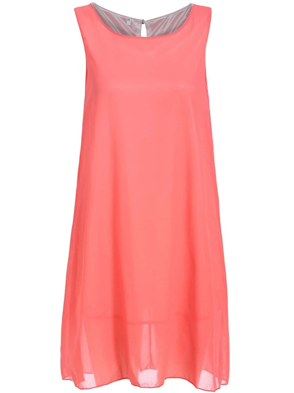 bd273a776d44 Red Melon Round Neck Sleeveless Loose Chiffon Dress | SHEIN