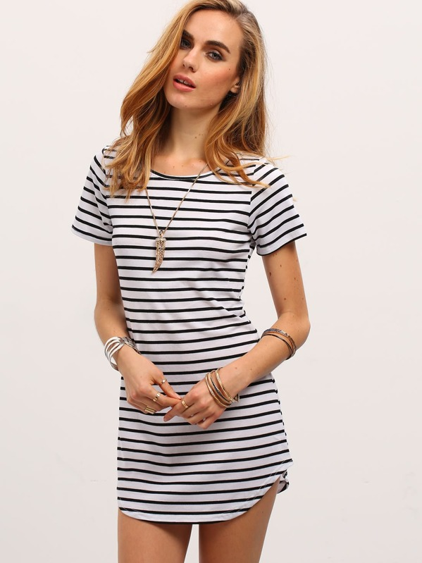 dfb36d7aea6d ... Round Neck · Short Sleeve · Mini · Natural · Summer. Contrast Striped  Curved Hem T-shirt Dress. AddThis Sharing Buttons
