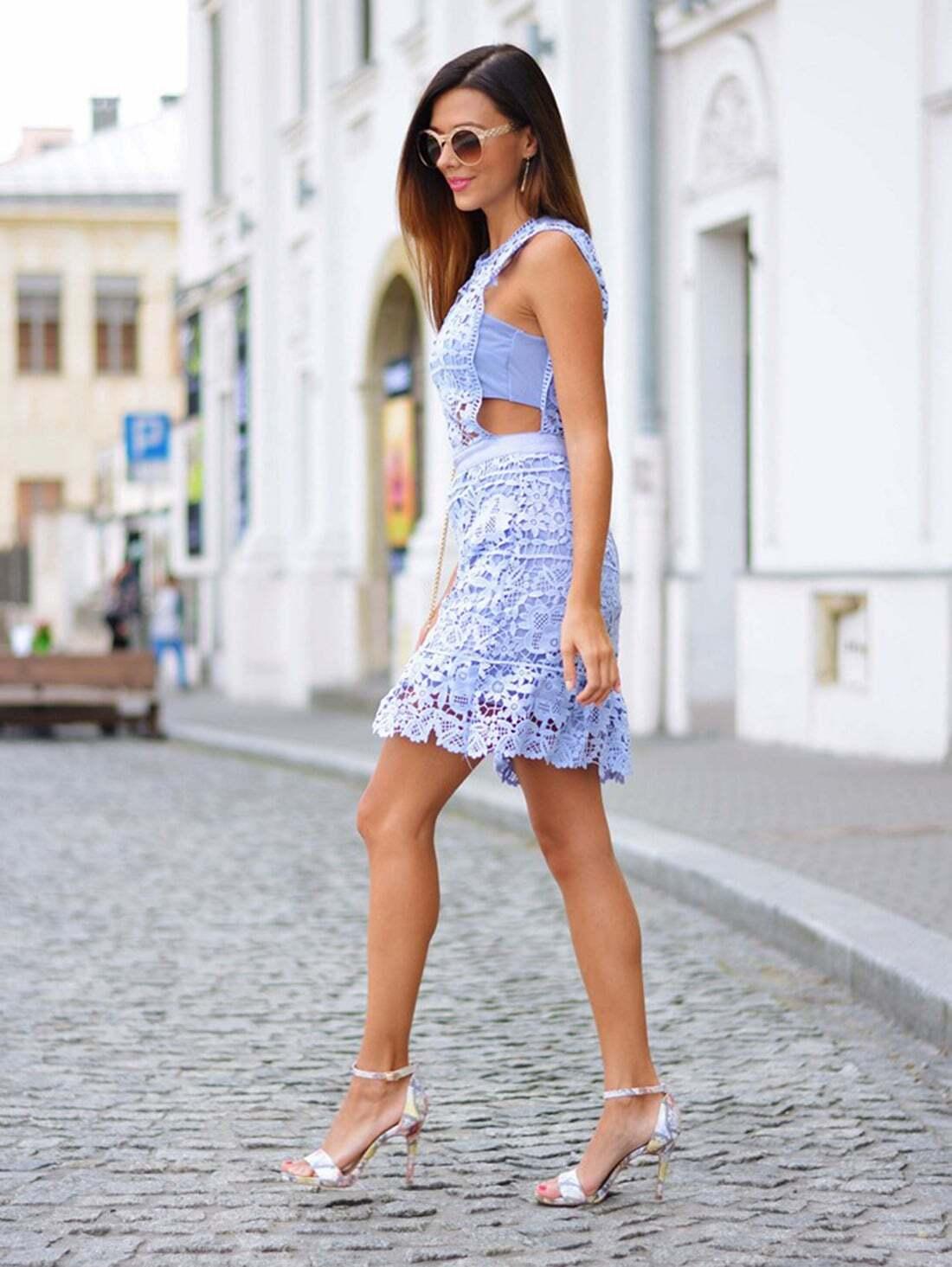 Blue Side Hollow Lace A-Line Dress -SheIn(Sheinside)