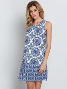Bianco blu senza maniche Vestito con stampa vintage