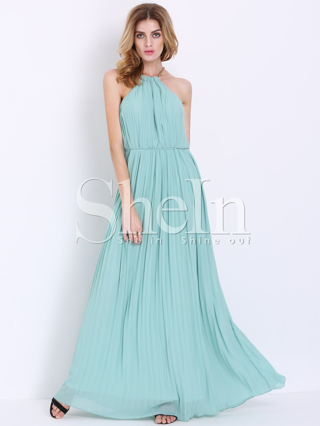 Mint Sleeveless Halter Pleated Elegent Maxi Dress -SheIn(Sheinside)