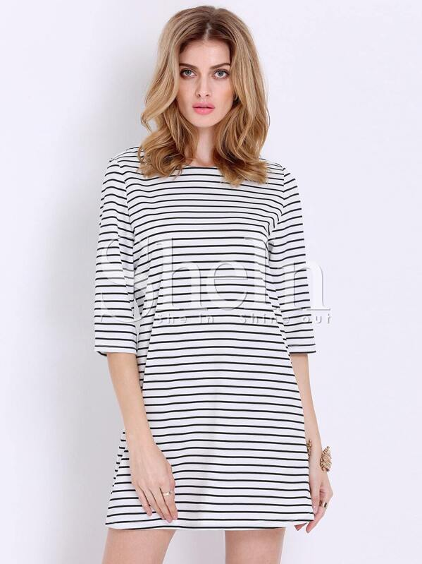 White Black Half Sleeve Striped Dress Sheinsheinside