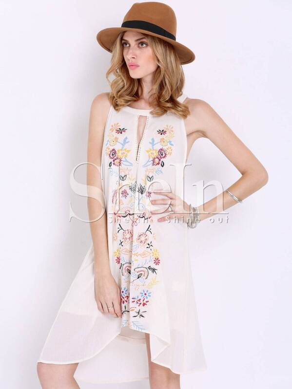 87bdddf4087df9 Apricot Sleeveless Floral Embroidered Dress