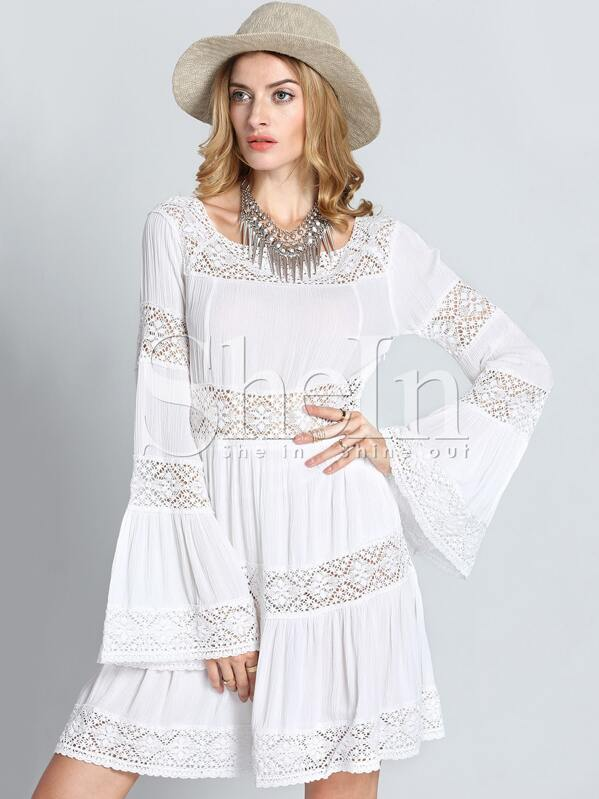 White Long Sleeve Crochet Lace Dress Shein