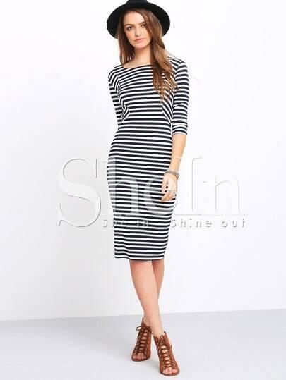 White And Blue Half Sleeve Striped Dress -SheIn(Sheinside)