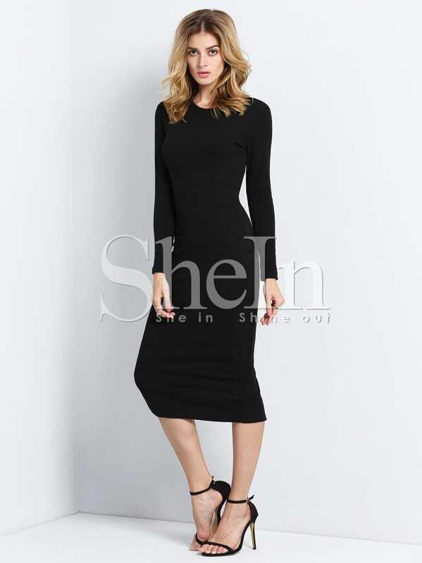 quality design a6df8 8f7ac Skinny Kleid Langarm-schwarz