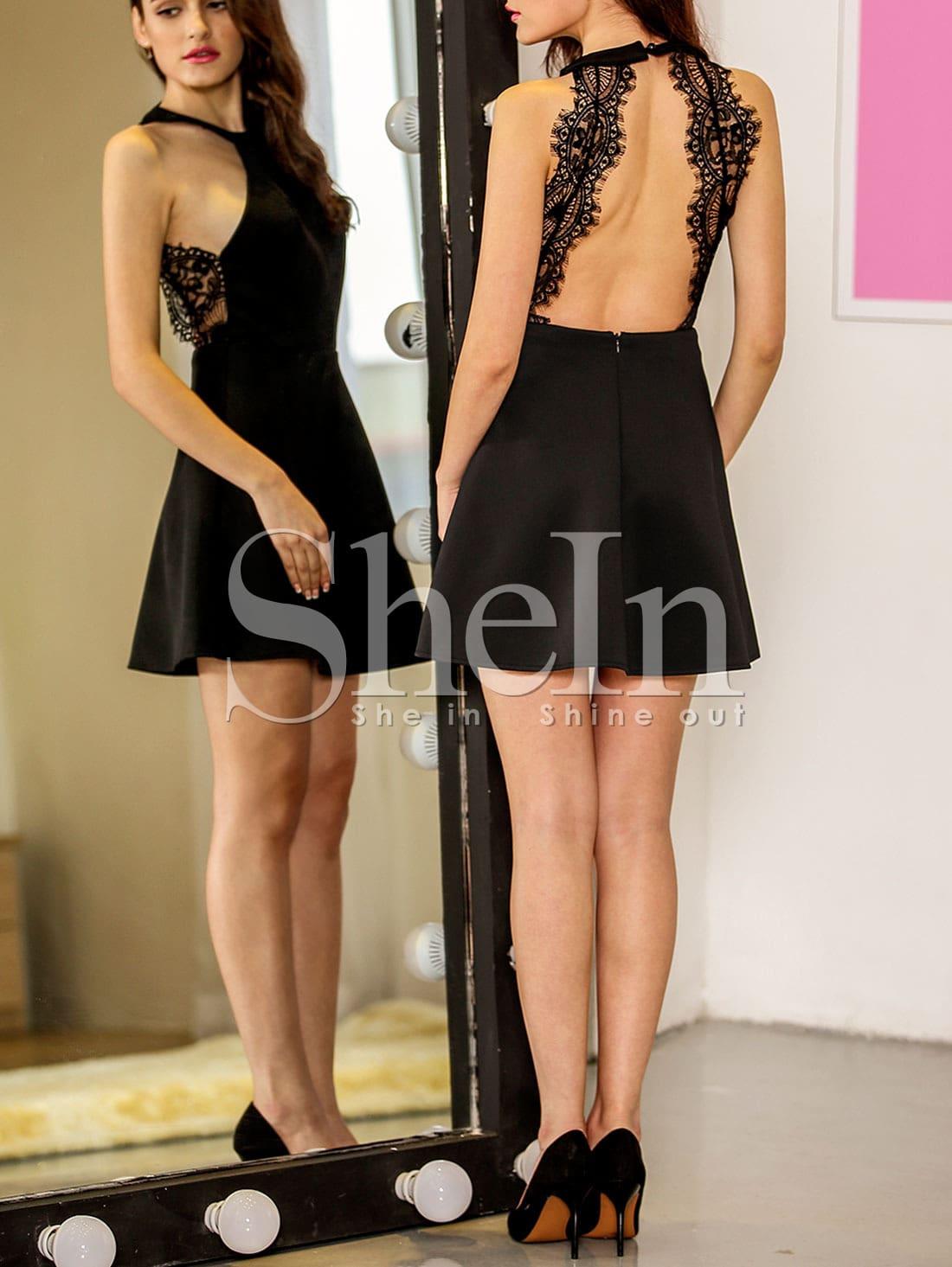 Black Halter Contrast Scallop Lace Backless Dress(Exclude Belt ...