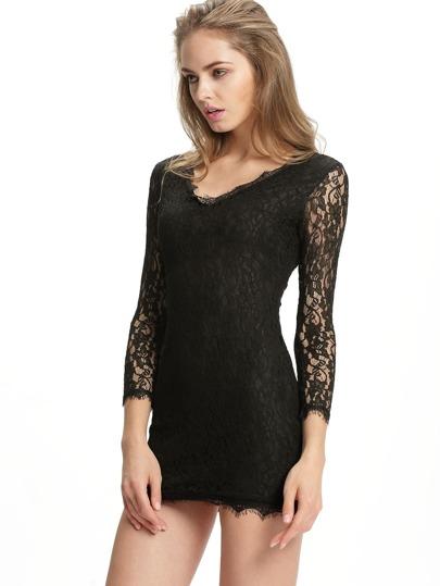 4ce3dea2cd15e فستان الدانتيل أسود V الرقبة كم طويل حزمة الورك