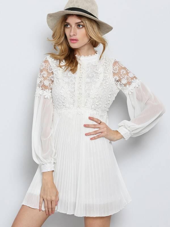 e2df1acafcf Kleid Langarm mit Stickereien Spitze und Perlen besetzt-weiß