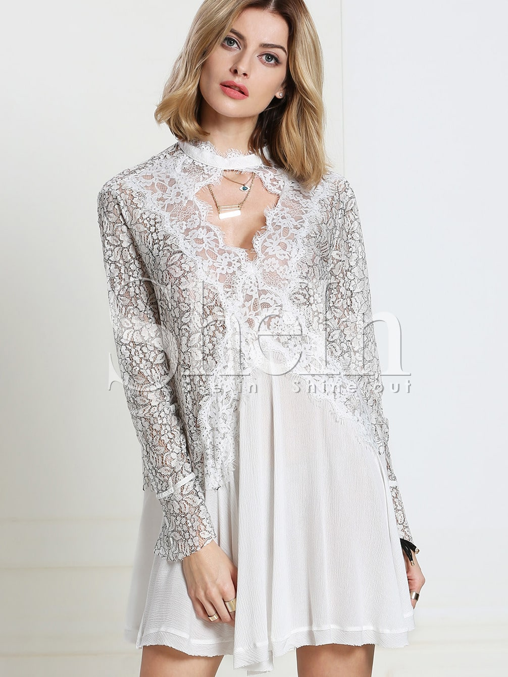 White Long Sleeve With Lace Dress -SheIn(Sheinside)