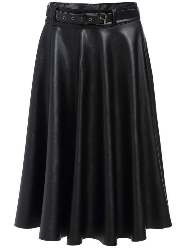 0fa7583ddb Black Belt Midi PU Skirt | SHEIN UK