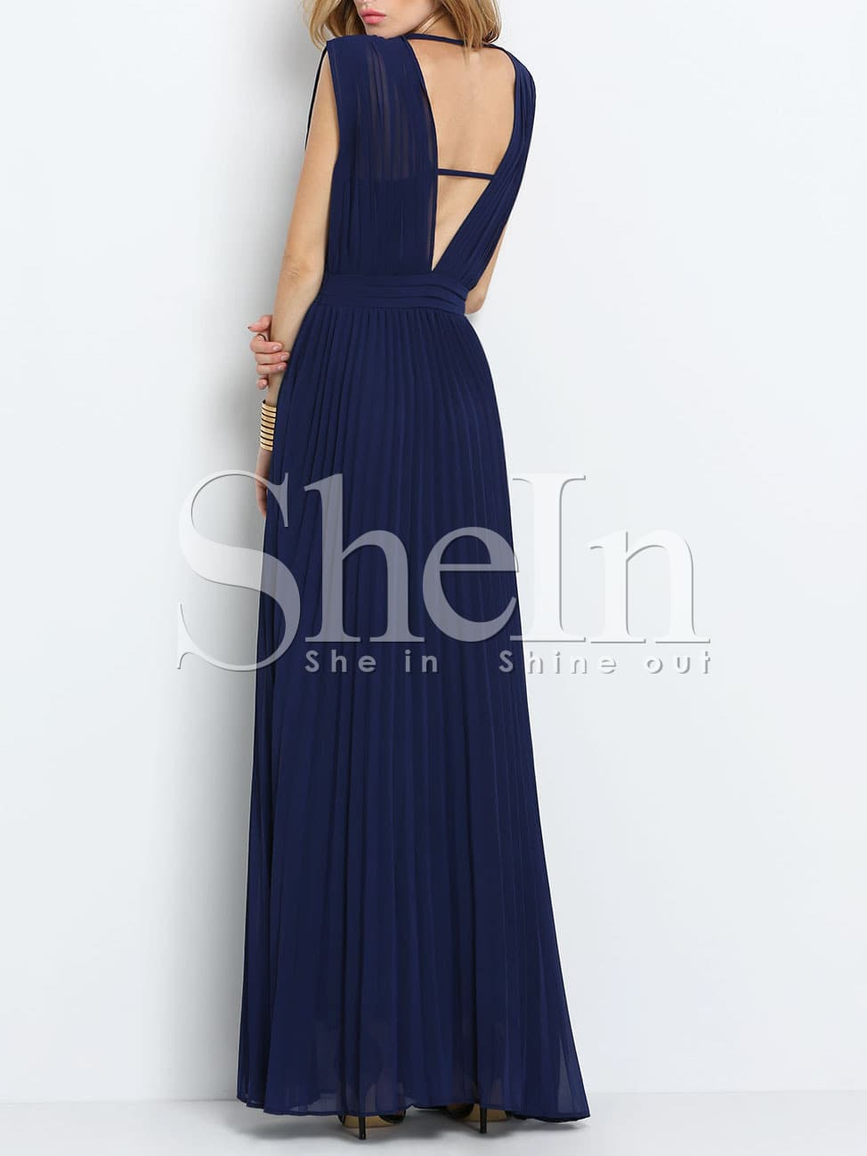 Blue Periwinkle Sleeveless V Neck Pleated Elegent Maxi Dress -SheIn ...