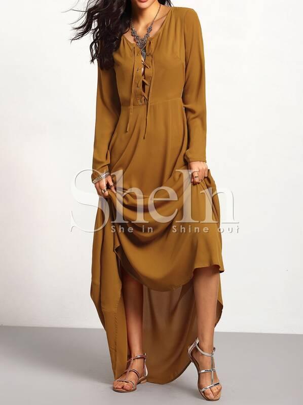 d5e6e7b8998d5 فستان ماكسي بني مع الرباط كم طويل
