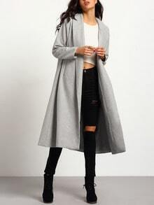 Grey Long Sleeve Lapel Pockets Oversized Coat