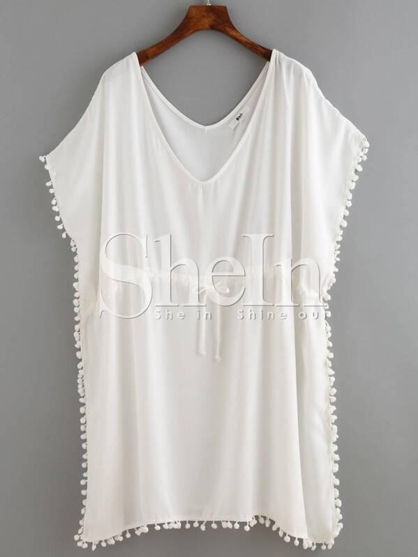White Deep Plunge Neck Crochet Trim Plus Dress
