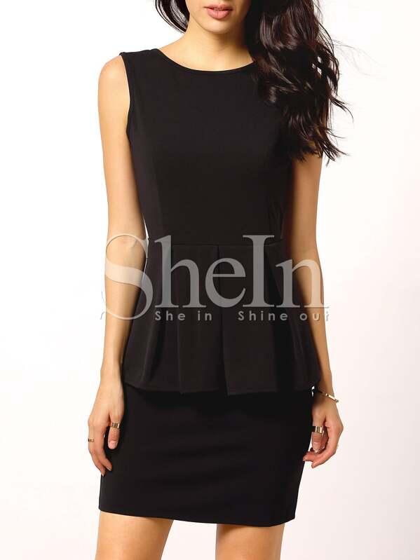 Black Sleeveless Backless Peplum Dress Sheinsheinside
