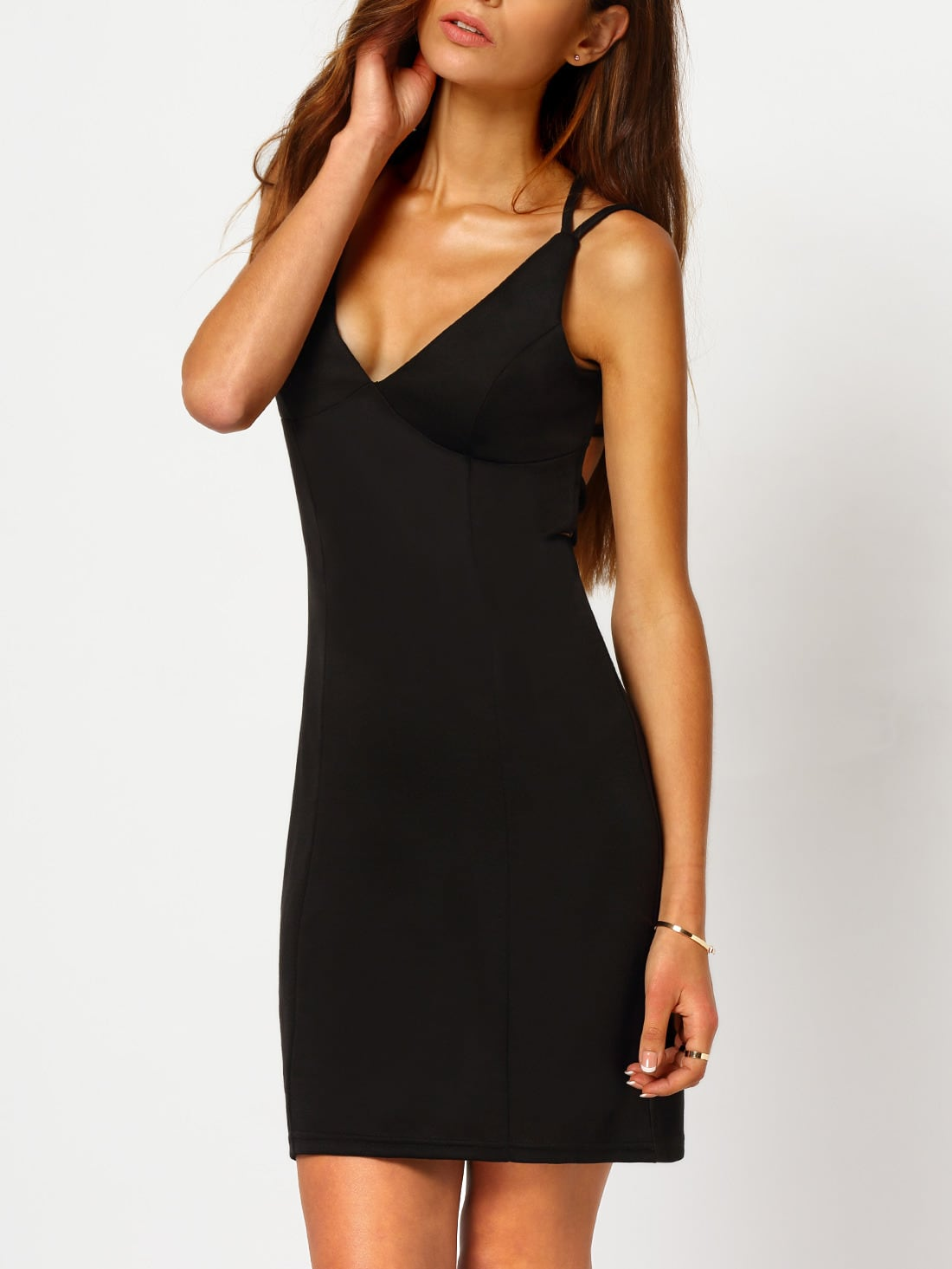 Elastic Spaghetti Plain Sleeveless Waist Dresses Strap Bodycon sleeves