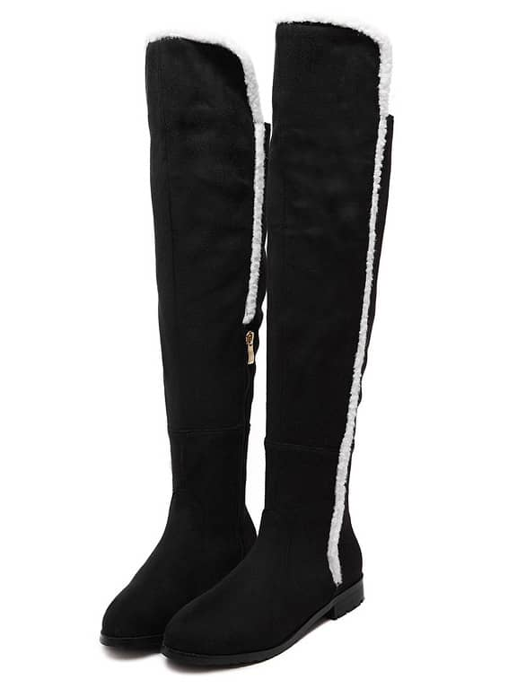 c543e5aae3 Black Velvet Over The Knee Boots | SHEIN