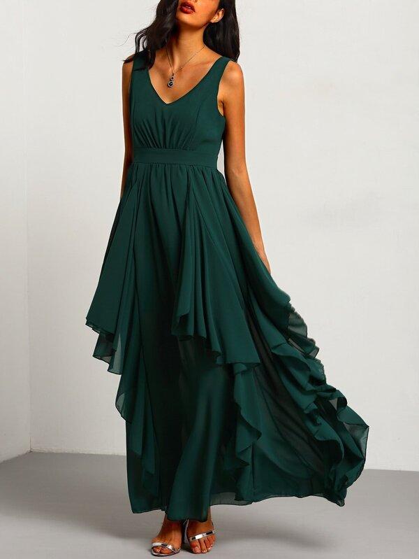 Chiffon Kleid mit tiefem V-Ausschnitt - grün- German SheIn(Sheinside)