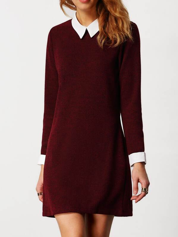 d8e9afae38e02 Robe slim col claudine manches longues -rouge bordeaux | SHEIN