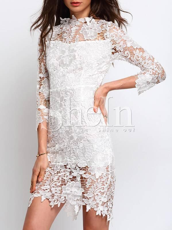 Vestido manga tres cuartos encaje -blanco | SHEIN ES