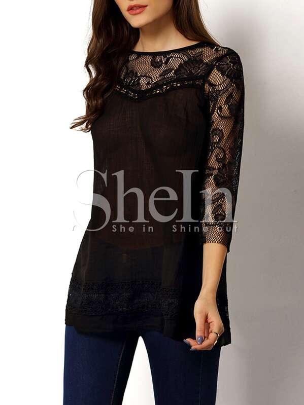 hot sale online dfcad 498ef Camicia con inserti velati nera